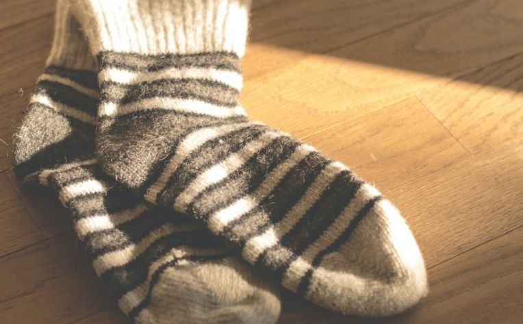 Socks on Clean Hardwood Flooring